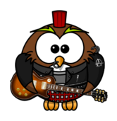 owl,cartoon,bird,funny,animal,punk,guitar,brad,studded jacket,anarchy,mohawk
