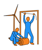 turbine,wind turbine,insulating,insulation,lagging,door-frame,doorway,draft,draft excluder,standing,crouching,loft