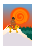 africa,woman,naked,sunset,cliff,native,smiling,colorful,exotic,clip art,vector