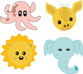 baby,baby animal,cartoon,cute,elephant,giraffe,lion,octopus,pastel,nursery