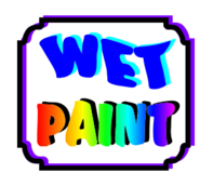 wet paint-paint-wet-paint brush-brush-can-paint can-hand-kids-kid-school-school art-art room-room-kitchen-house-wall-play ground-building-rooms-sign