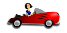 brunette,female,femme,mujer,driver,chauffeur,chofer,sport,car,voiture,coche,automobile,automóvil,automovil,convertible,red,rouge,rojo